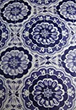 Summer Fun Flannel Back Vinyl Umbrella Tablecloths with Hole and Zipper-Sunburst of Medallions-Purple and White -Assorted Sizes (70 Round)
