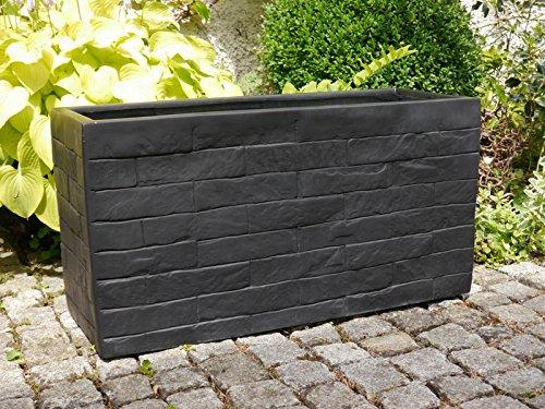 pflanztrog wall l100x b40x h50cm aus fiberglas wie orig mauergestein granitschwarz. Black Bedroom Furniture Sets. Home Design Ideas