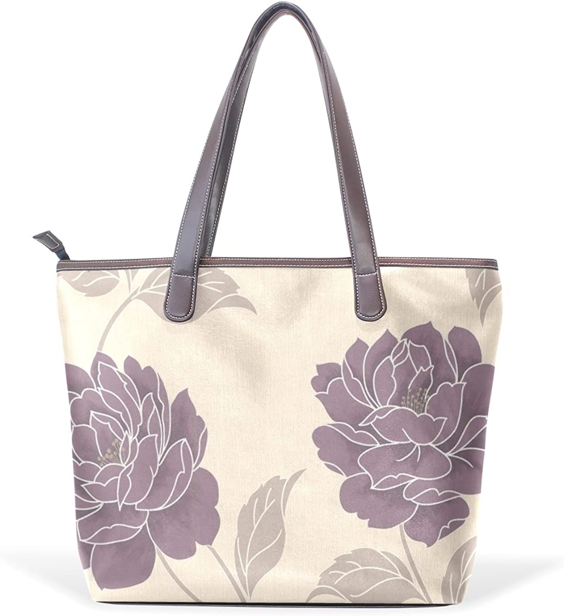 Sunlome Classic Plum Floral Handbags For Women Girls PU Leather Shoulder Tote Bag