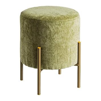 Puff tapizado de Terciopelo Verde Minimalista para salón Bretaña - LOLAhome