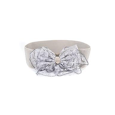 Ya Jin Womens Wedding Flowers Bowknot Elastic Belt Stretch Wide Waist Cinch for Dress