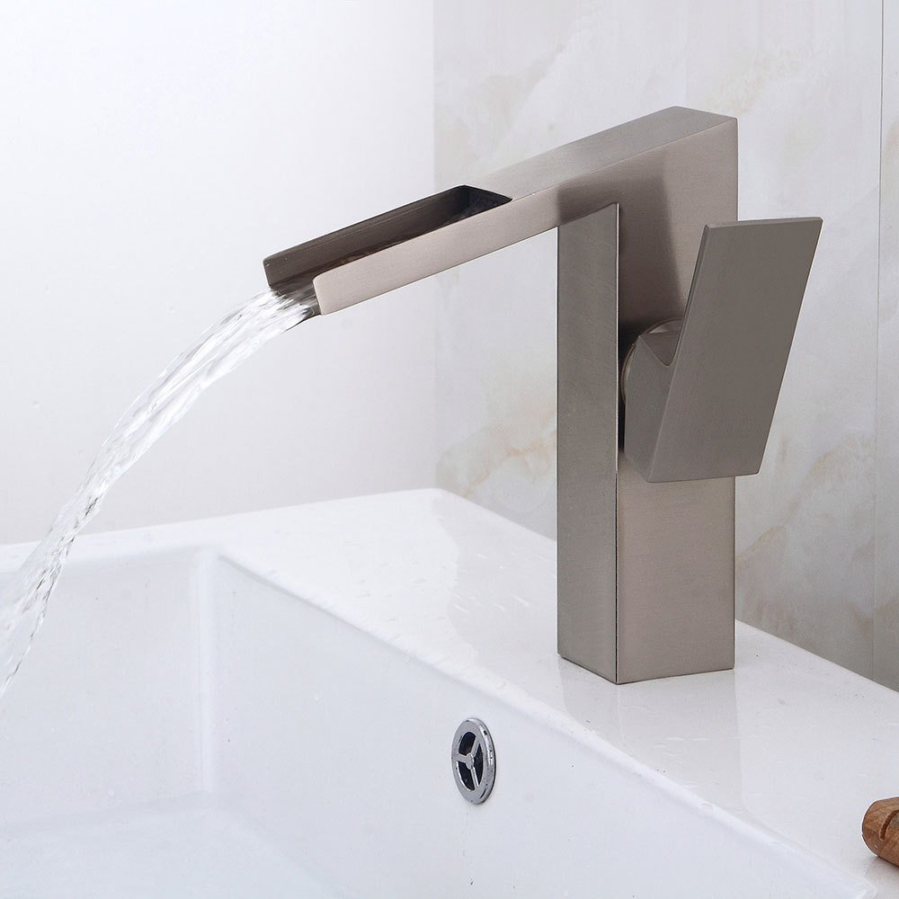 Bijjaladeva Antique Bathroom Sink Vessel Faucet Basin Mixer Tap The bathroom waterfall faucet copper cooling water Mixer Taps home wash basins Single Handle Faucet