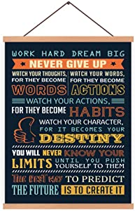 CHDITB Never Give Up Art Print Inspirational Quote Magnetic Natural Wood Hanger Frame Poster,Canvas Motivational Saying Painting 28X45cm Wall Hanging Art Print for Bedroom Office Classroom Decor