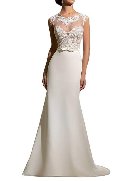 Women\'s Simple Lace Beach Bridal Dress Ivory Simple Long Formal ...