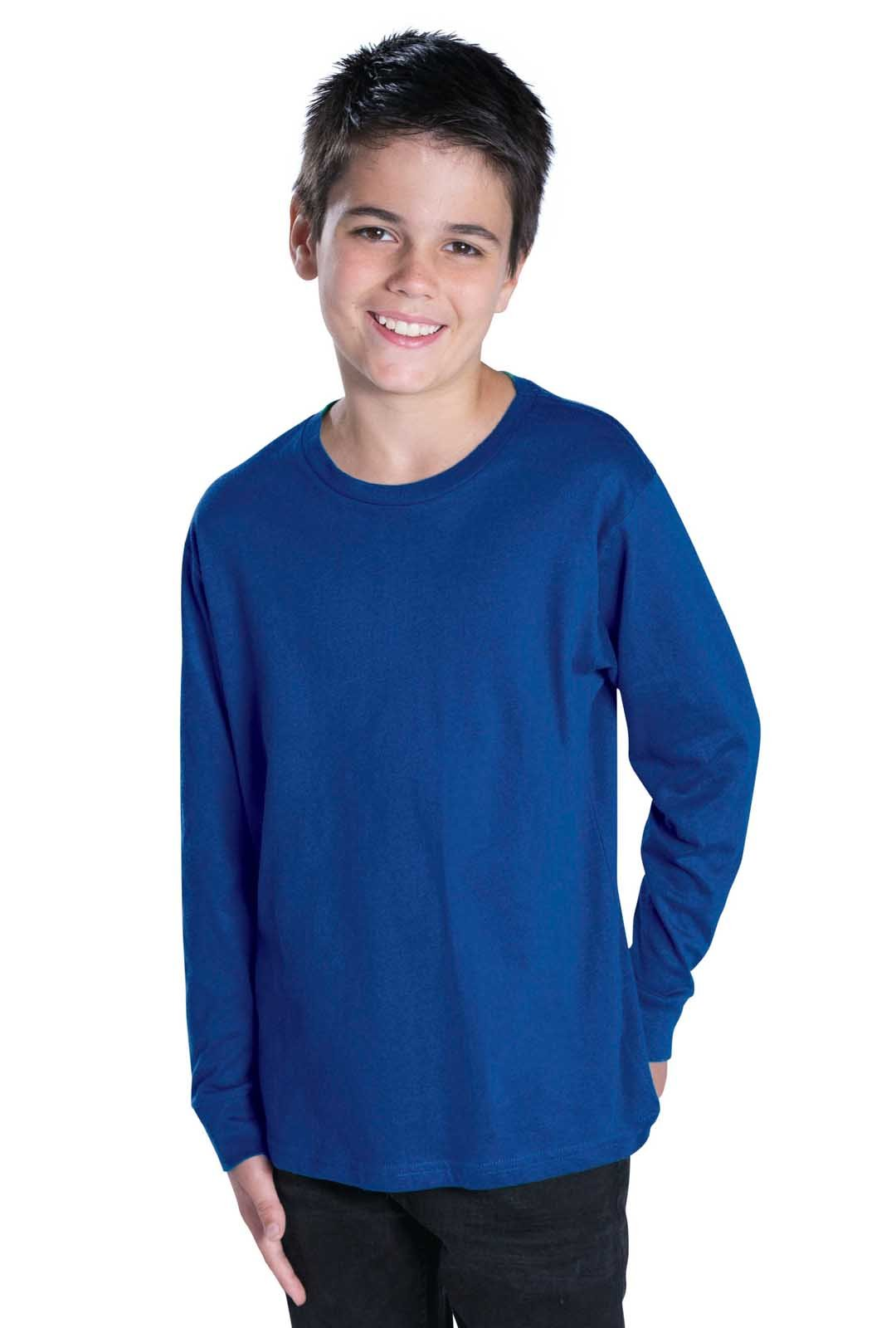 LAT Youth 100% Cotton Jersey Crew Neck Long Sleeve Tee (Navy, Large)