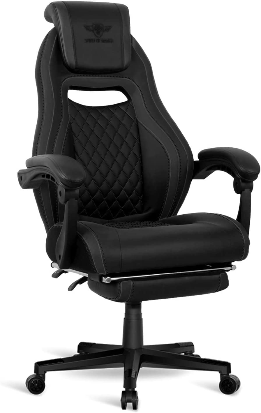 Accoudoirs Articul/és Spirit Of Gamer Chaise Gaming Fauteuil Gamer en Simili-Cuir Dossier R/églable /à 160/° Wildcat Series Play and Relax Repose Jambes Escamotable Noir