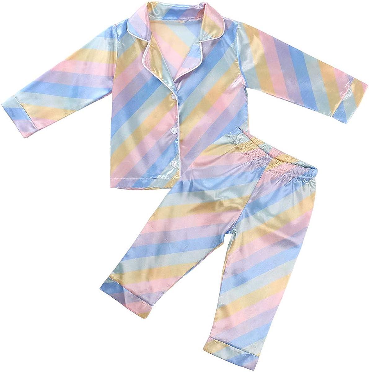 Baby Boy Girls Pajama Set Long Sleeve Satin Sleepwear Snug Fit Solid Color 2-Piece Sleeping Clothes