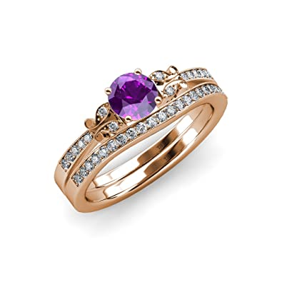 Amazon Com Trijewels Amethyst And Diamond Butterfly Engagement Ring