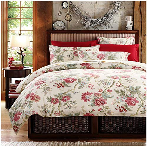 Eikei Home French Country Garden Toile Floral Printed Duvet Quilt Cover Cotton Bedding Set Asian Style Tapestry Pattern Chinoiserie Peony Blossom Tree Branches Multicolored Design (Queen, (French Country Set Bed)