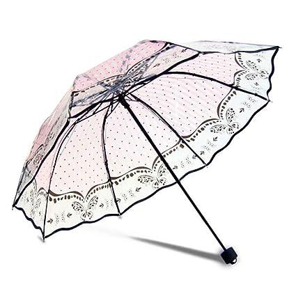 adca0f86dd0f Amazon.com : DJDL Rain Umbrellas Transparent Retro Printing Fashion ...