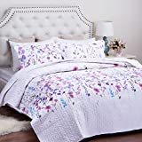 "Printed Quilt Coverlet Set King Lilac Floral Pattern Lightweight Hypoallergenic Microfiber ""Bouquet"" by Bedsure"