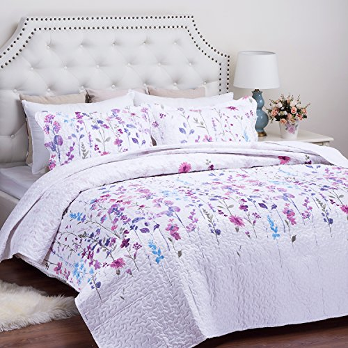 Pretty Floral Pattern (Printed Quilt Coverlet Set King(106