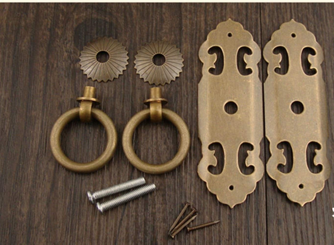 Color : Bronze Cheniess Manija de la Puerta de Cobre Antiguo Puro de Gabinete Armario Exquisito y Duradero Martillada y Resistente de Tipo Pesado