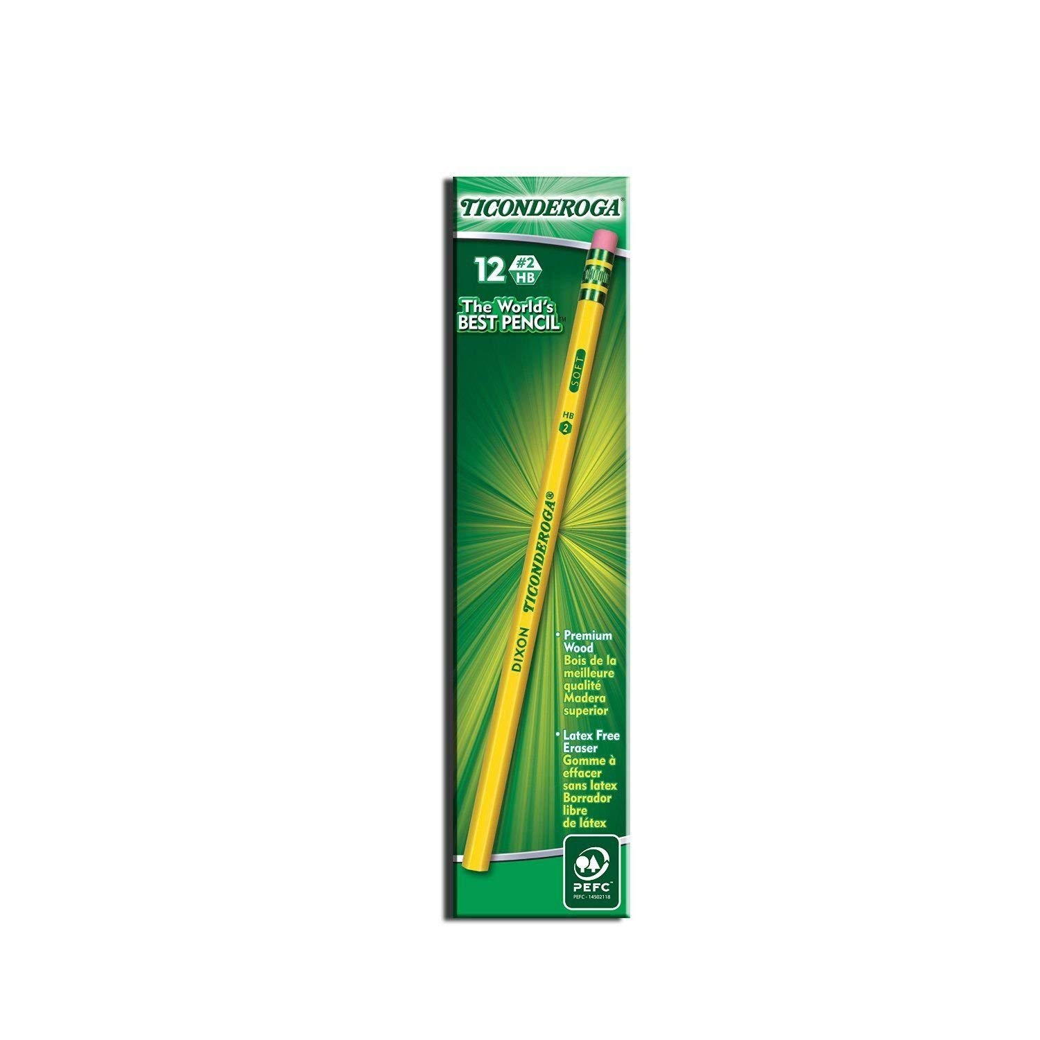 IUYE Ticonderoga Wood-Cased 2 HB Pencils, Box of 96, Yellow 2 Pack by  (Image #2)