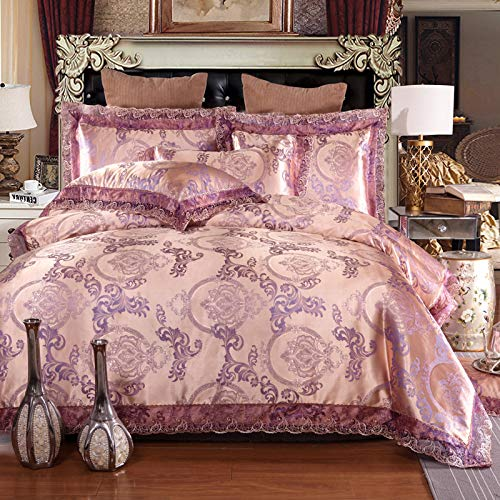 (UniTendo 4 Piece Sateen Cotton Jacquard Duvet Cover Sets,Delicate Floral Pattern Bedding Sets,Duvet Cover Flat Sheet and 2 Pillowcases,Queen/Full Size, Champagne Purple.)