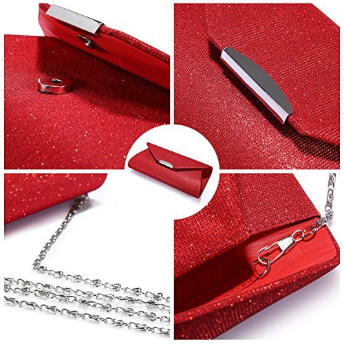 with Red Party for Envelope Women Handbags Bag Purse Strap Chain for Wedding Glitter Flap Clutch Evening qZz6Ux