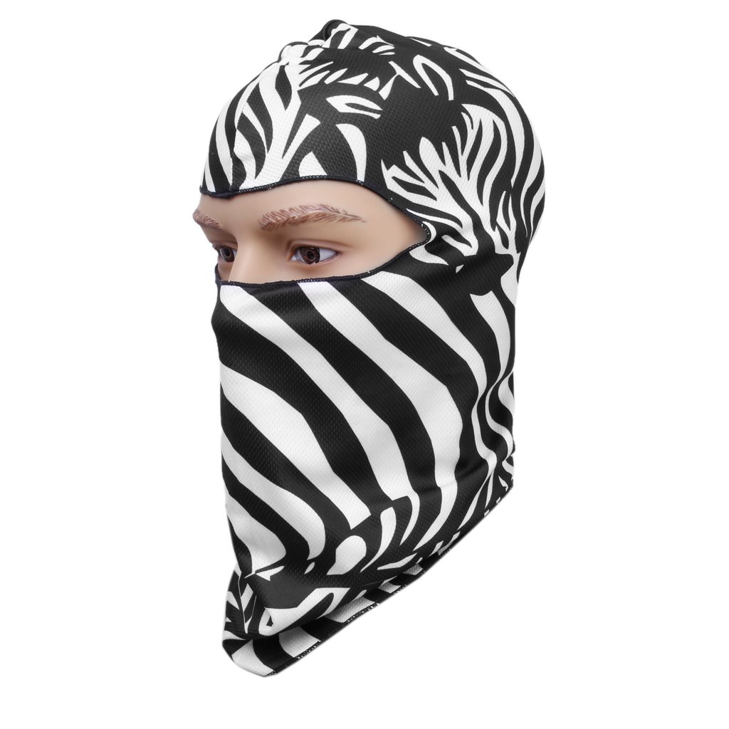 Pesca al aire libre Ciclismo Escalada cara completa cabeza cubierta de la campana Zebra Pattern