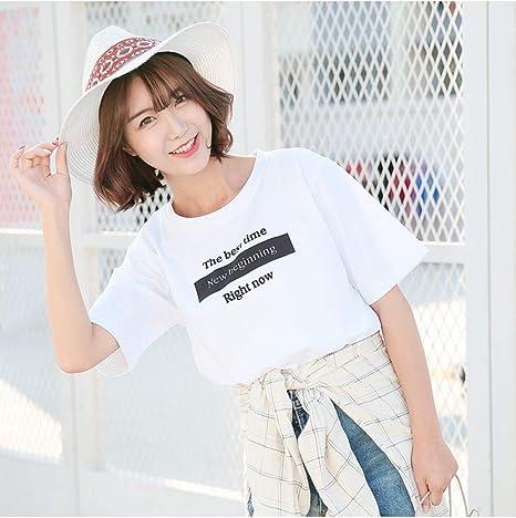 LKJI Camiseta De Mujer Camiseta Blanca,Manga Corta,Decoración ...