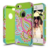 iPhone 5S Case,iPhone SE Case,AnnBay(TM) for iPhone 5S 2in1 High Impact Hybrid Dual Layer Case Heavy Duty Case Armor Cover Case with Totem Pattern (Green)