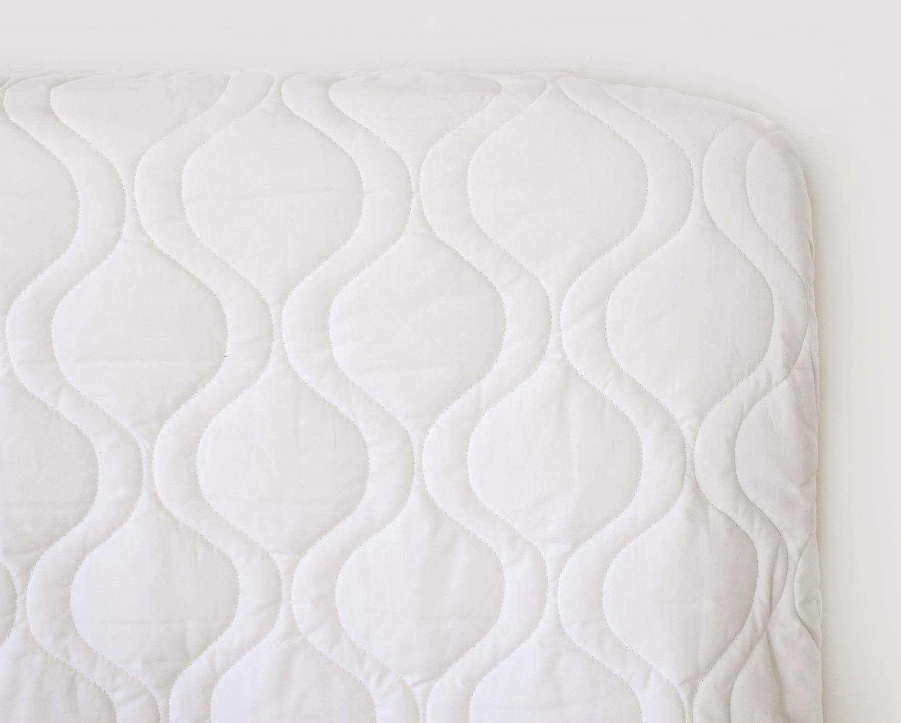 SheetWorld Quilted Fitted Crib Mattress Pad 28 x 52, Solid White, Made in USA by SHEETWORLD.COM