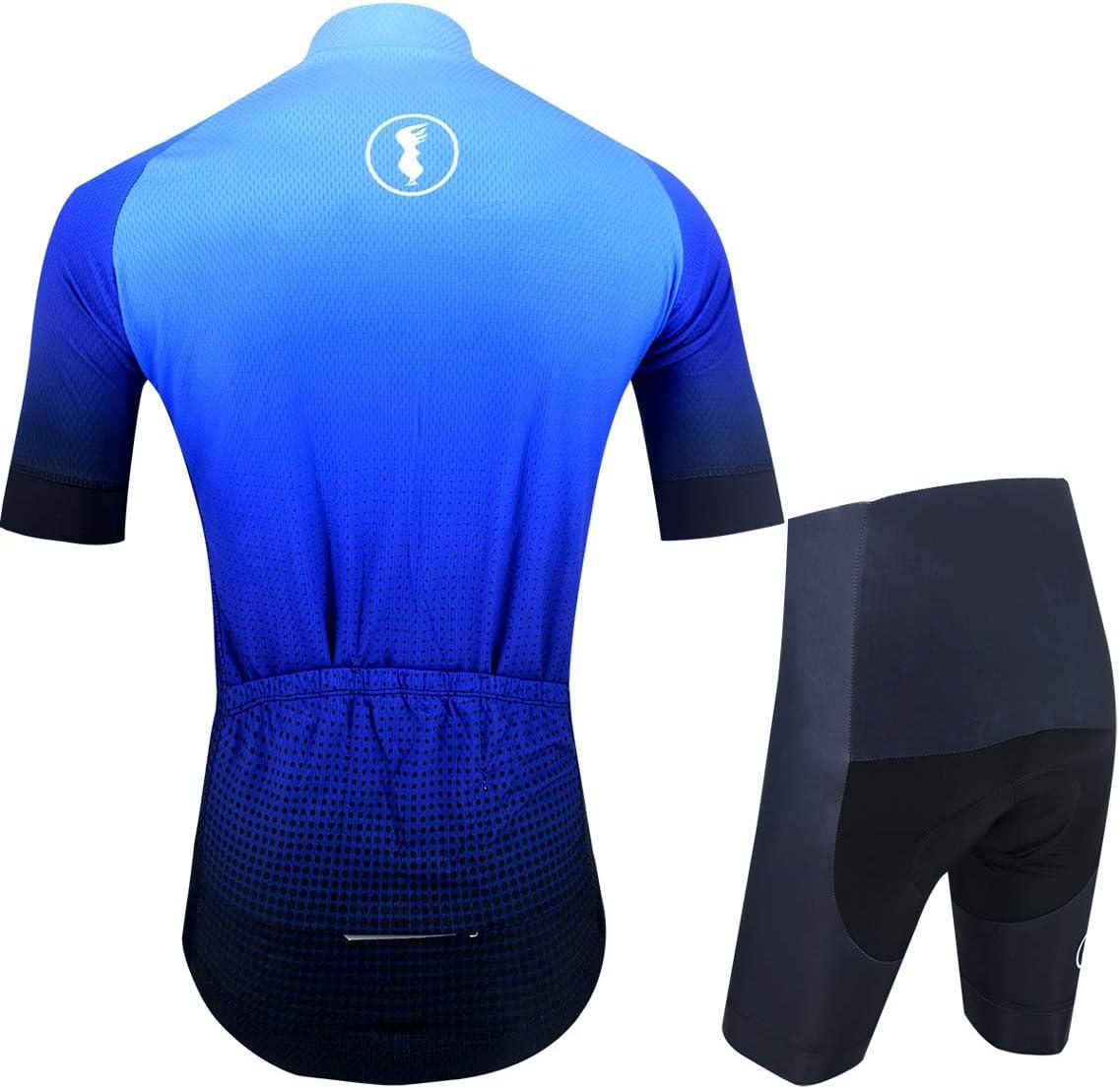 Femme 198 Bleu Respirant BXIO Maillot de Cyclisme /à Manches Courtes avec Bretelles avec Coussinet 3D pour Le Cyclisme de VTT