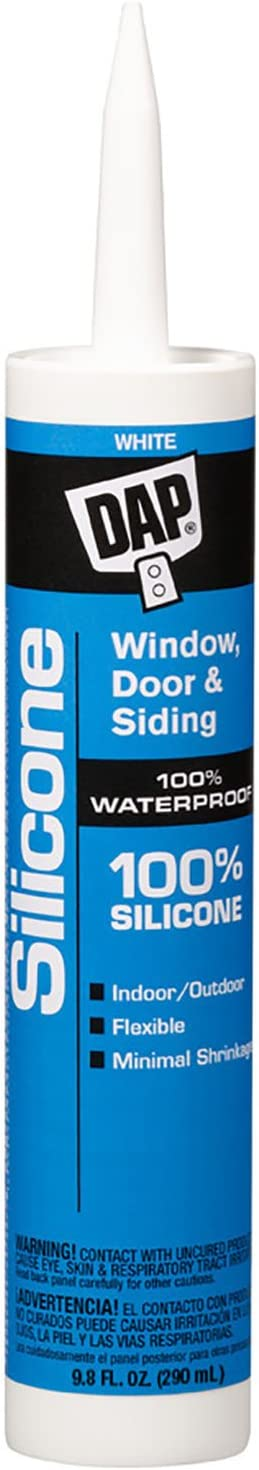 DAP 08646 10.1-Ounce Window and Door 100% Silicone Rubber Sealant, White
