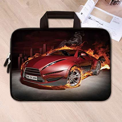 0a051d1a28e1 Amazon.com: Cars Lightweight Neoprene Laptop Bag,Red Sports Car ...