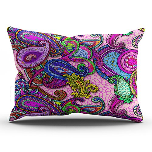 Hoooottle Custom Melange Paisley with Pink Pretty Pillowcase Rectangle Zippered One Side Design Printed 20x36 Inch King Throw Pillow Case Cushion Cover (Fuschia Pillow Cases)