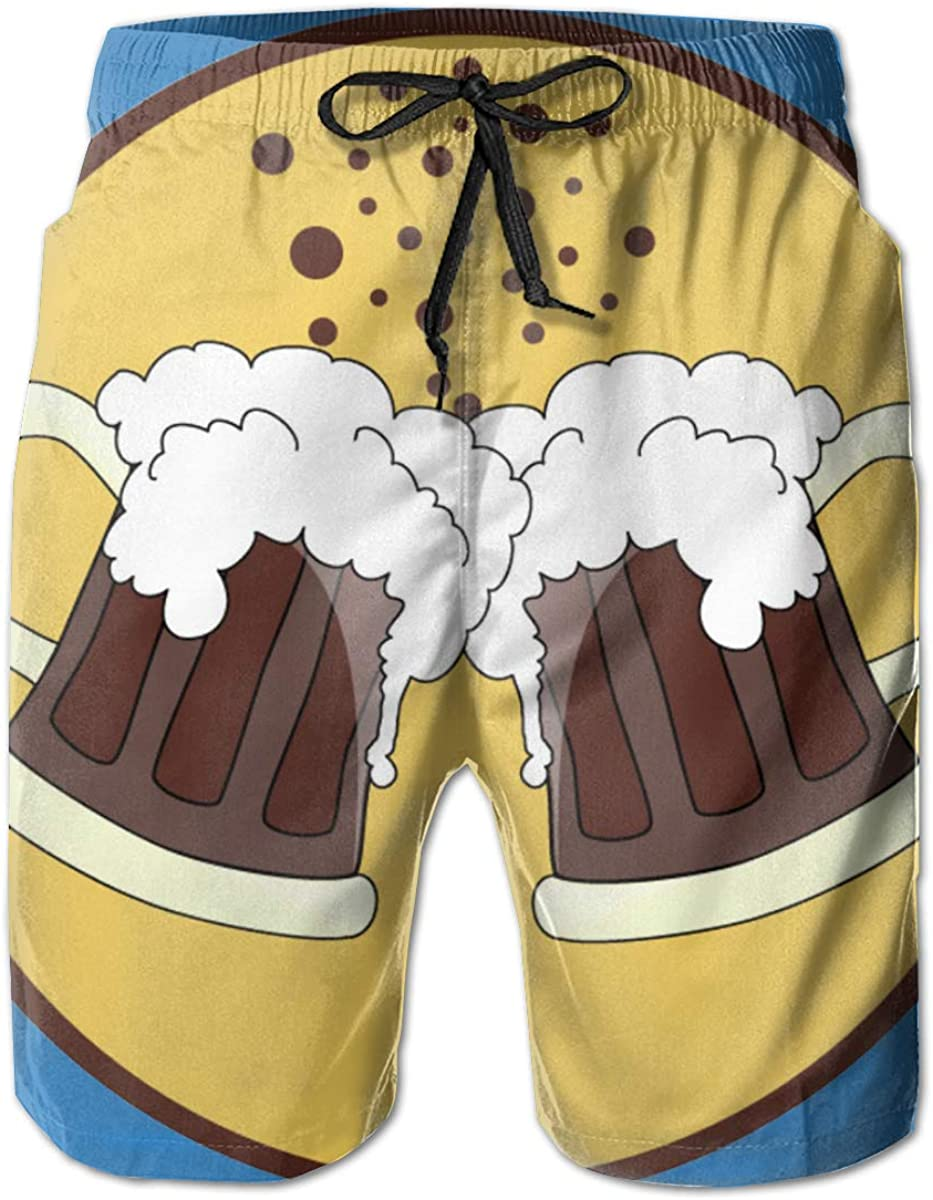 Suitable for Surfing Swimming and Other Marine Sports Redeast Beach Shorts Oktoberfest Beer Mens Swimming Pants