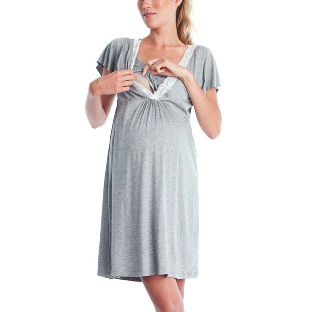 MCYs Umstandspyjama Stillschlafanzug Stillpyjama Umstandsnachthemd Kurzarm V-Ausschnitt Spitze Blumen Schwanger Nursing Pyjama-Kleid f/ür Schwangere Baumwolle