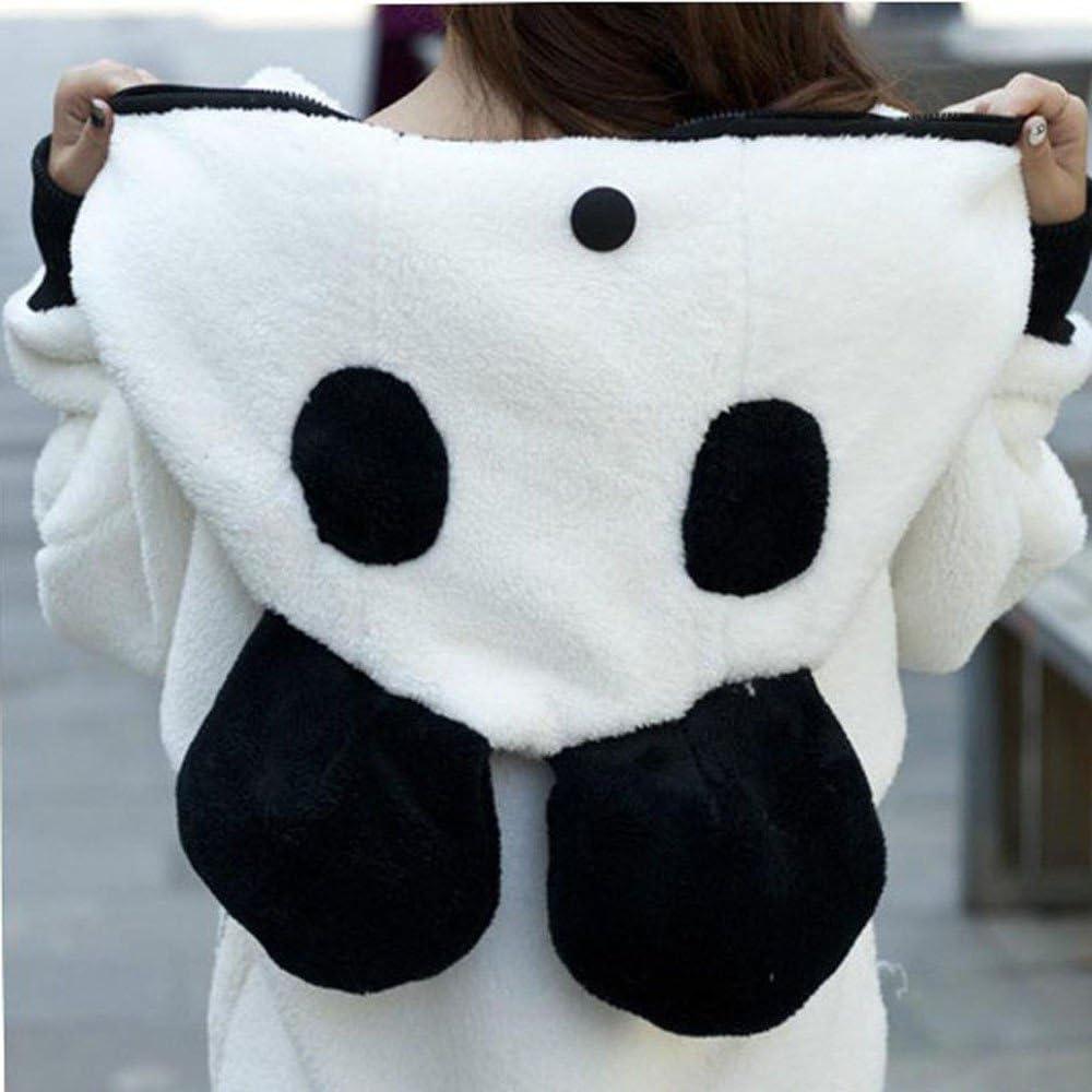 CGKUITER Womens Cute Bear Ear Coat Panda Cosplay Winter Warm Hoodie Coat Women Hooded Jacket Outerwear