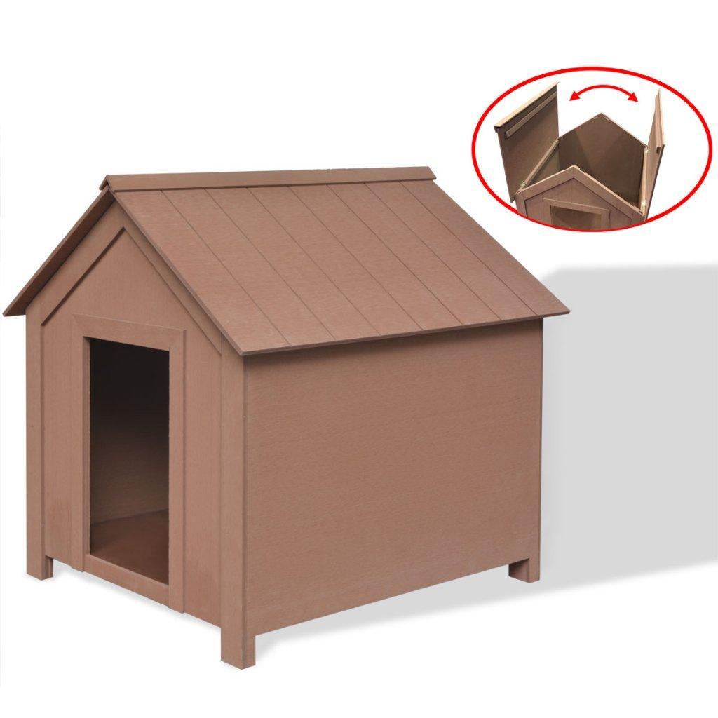 vidaXL WPC Hundehaus Hundehütte Tierhaus Hundehöhle mit Dachluke für Hunde 74 cm hoch