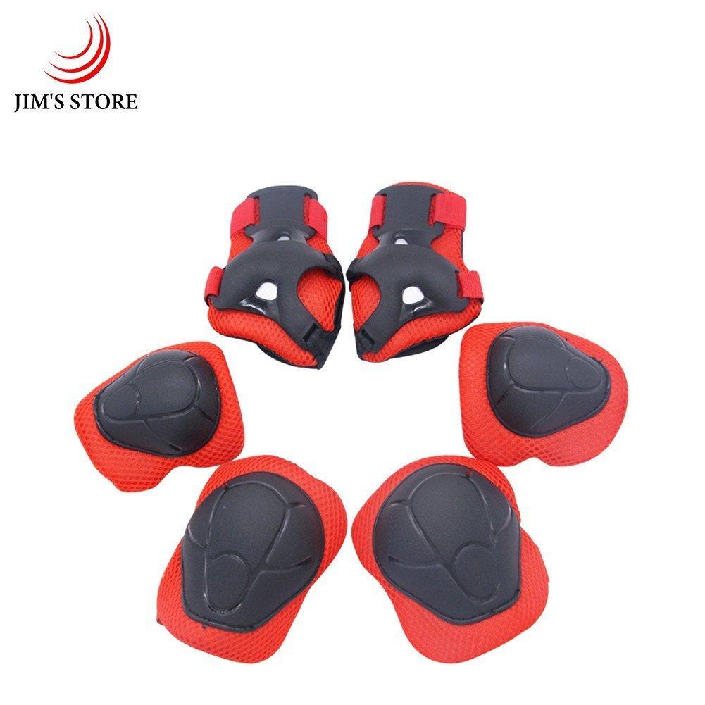 JIM'S STORE Child's Pads Set with Knee Elbow and Wrist, 6 Pcs Children Protective Gear Set Wrist Protector/Guards for Scooter Cycling Roller Skating Skateboard (red)