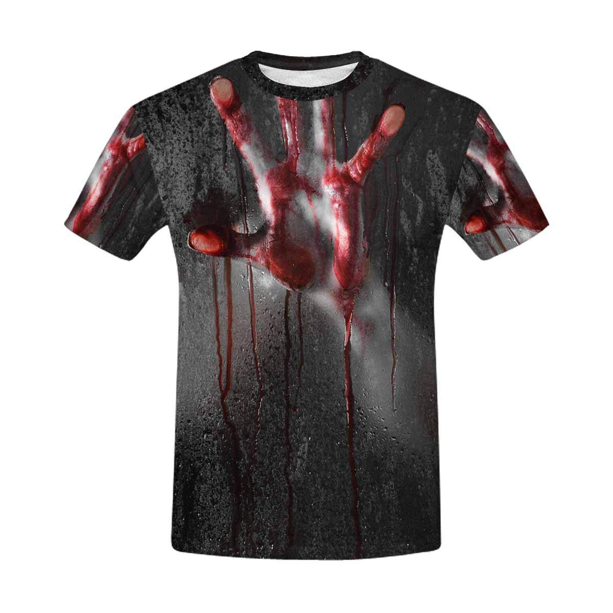 INTERESTPRINT Bloody Hand Against Glass Halloween Theme Classic Short-Sleeve All Over Print Men's T-Shirt