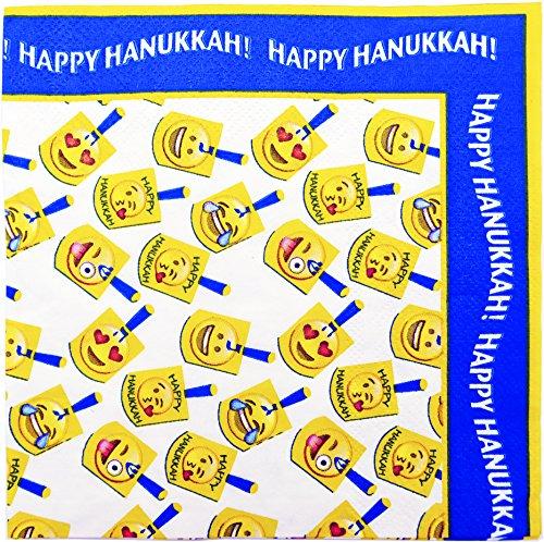 - Hanukkah Napkins - Emoji Dreidel Design - Chanukah Napkin