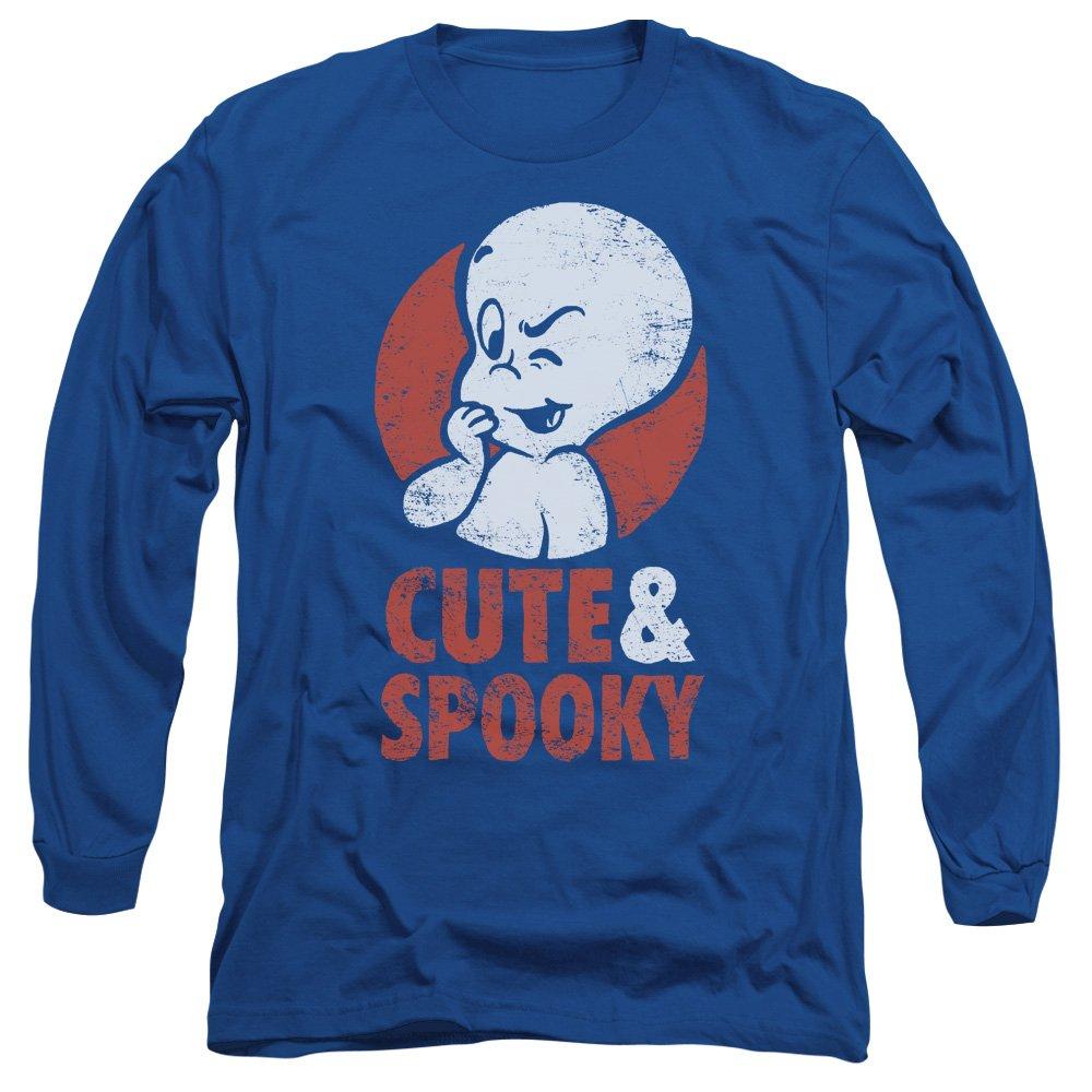 Casper The Friendly Ghost Casper Cute Spooky Faded Adult Lsleeve Tshirt