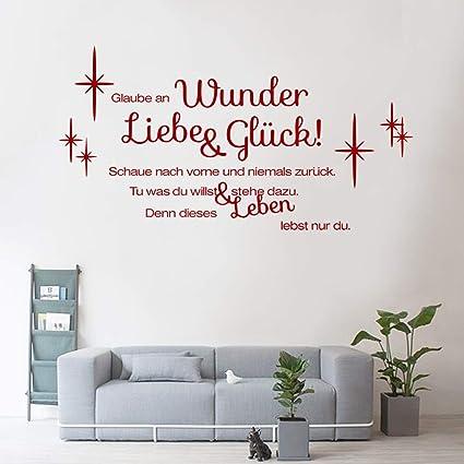 decalmile Wandtattoo Sprüche und Zitate Glaube an Wunder Liebe & Glück  Wandsticker Rot Wandaufkleber Schlafzimmer Büro Wohnzimmer Wanddeko