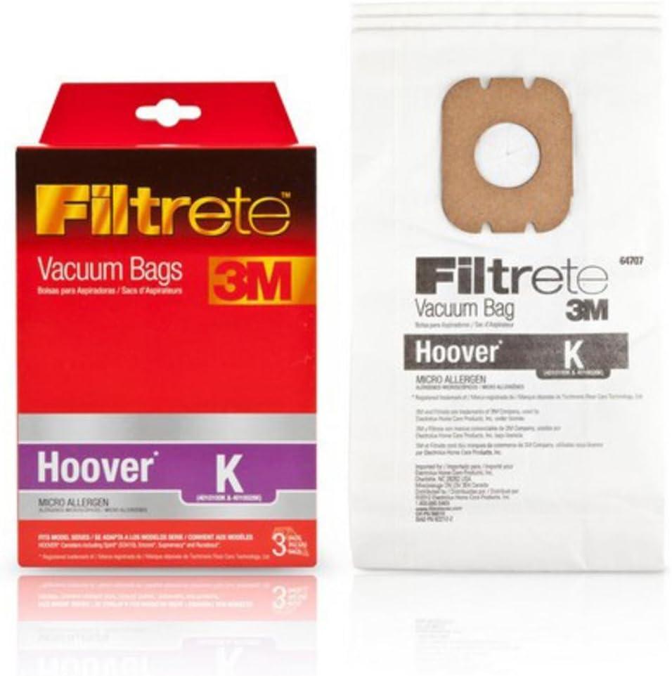 3M 64707-6 Hoover Filtrete K Micro Allergen Vacuum Bags 3 Count