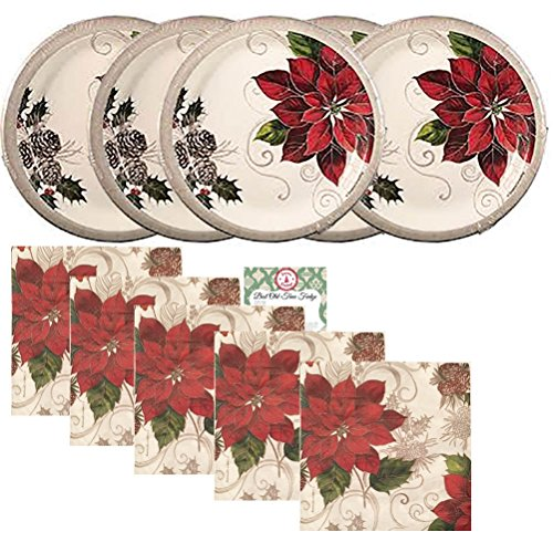 Paper Plates Christmas Dinner Set Party Supplies Set Kit Premium Dinnerware Holiday Winter Red White Green Silver Poinsettia Lunch or Dessert Plates Napkins Recipe Pack for 40 People (81 Pieces)