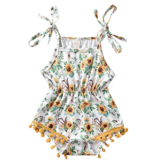Infant Baby Girls Kids Flower Romper Jumpsuit Sunsuit Bodysuit Clothes Summer US