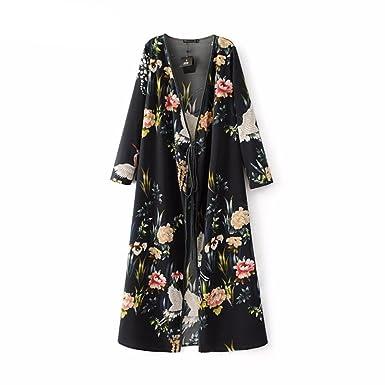 4d402eeda559 Virtual Store USA Women flower crane print maxi wrap dress long ...