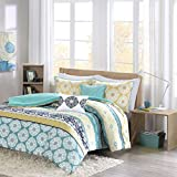 Intelligent Design Arissa Comforter Set Full/Queen Size - Yellow, Teal, Tribal Geometic Medallion – 5 Piece Bed Sets – Ultra Soft Microfiber Teen Bedding for Girls Bedroom