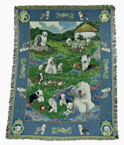 Gone Doggin Old English Sheepdog Blanket Throw #1 - Exclusive Dog Art in Tapestry for Dog Lovers