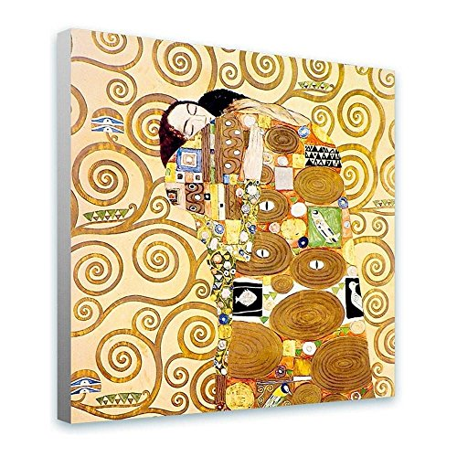 Alonline Art The Embrace Gustav Klimt FRAMED STRETCHED CANVAS (100% Cotton) Gallery Wrapped - READY TO HANG | 24