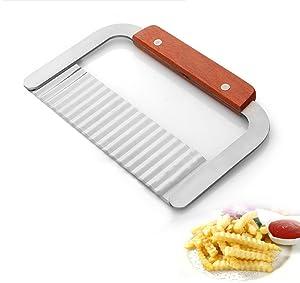 "BingGoGo Stainless Steel Wide Crinkle Cutter Cutting Tool,Salad Chopping Knife ,Potato Vegetable Slicer, 7.3"""