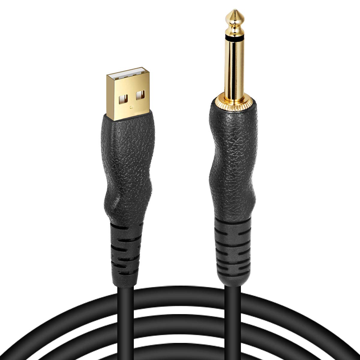 """EBXYA 1/4"""" TS Guitar to USB PC Cable 10 Feet - Premium Cable with Extra to USB C Cable for Your Mac Book"""