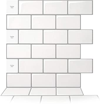 Art3d 10 Sheet Peel And Stick Backsplash 12 In X 12 In Subway 3d Wall Panels Mono White With Gray Grout Amazon Ca Tools Home Improvement