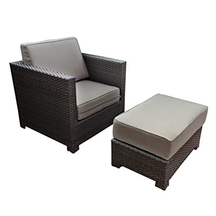 Pleasant Abba Patio Chair And Ottoman Set With Cushions 2 Piece Outdoor Wicker Sofa Deep Seating Furniture Set 28 X 35 5 X 31 Uwap Interior Chair Design Uwaporg