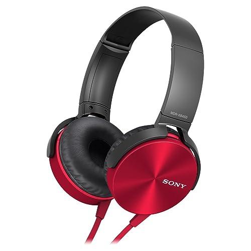 Sony EXTRA BASS XB450AP - Auriculares con cables para móvil, con mando integrado y micrófono, color rojo