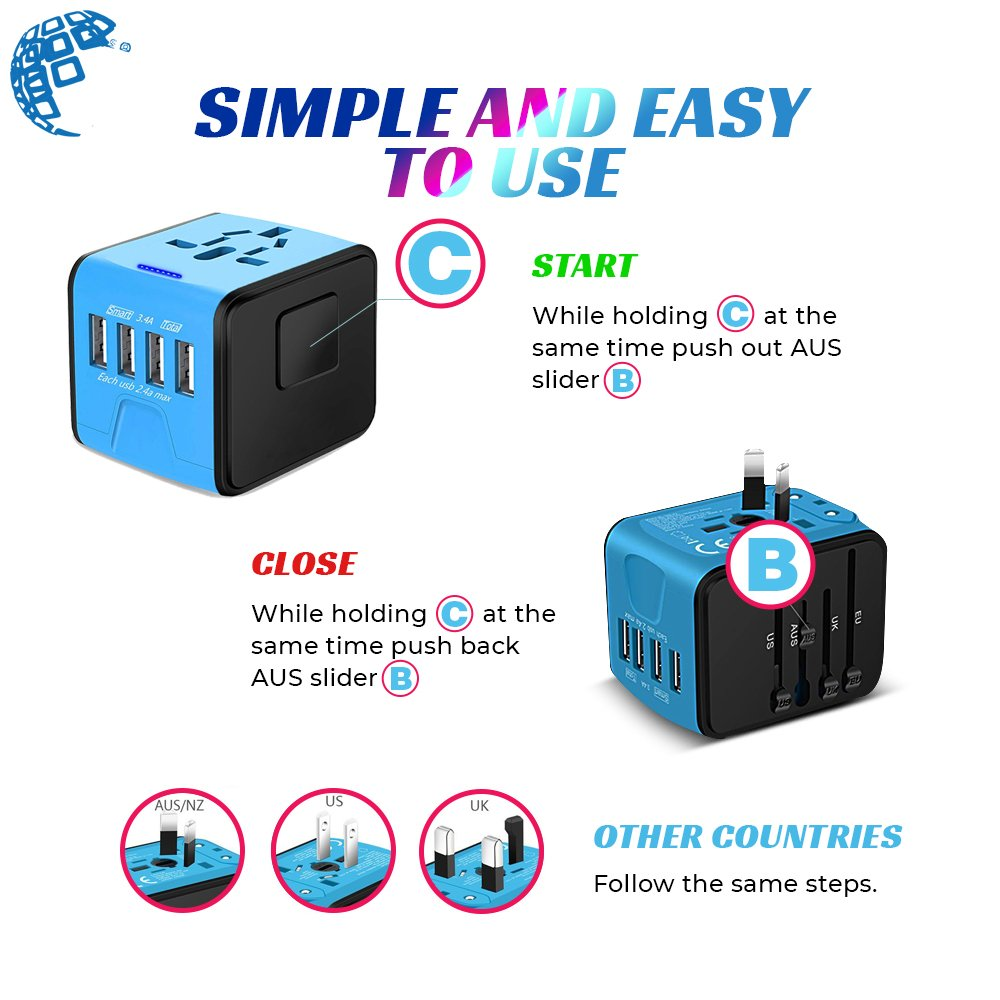 Universal Travel Adapter, International All in One Multi-Nation Worldwide 4-USB Power Charger - Travel to USA Europe Asia and UK Great for iPhone/Smartphones / Laptops & More by Digimad (Image #4)